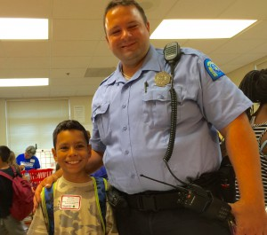 This young man talked to Officer Berkley about how to become a policeman