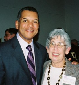 Russ Mitchell with president Barbara Finch