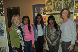 Lise Bernstein, Women's Voices President, with students from Northwest Academy of Law High School and teacher Sue Lampros